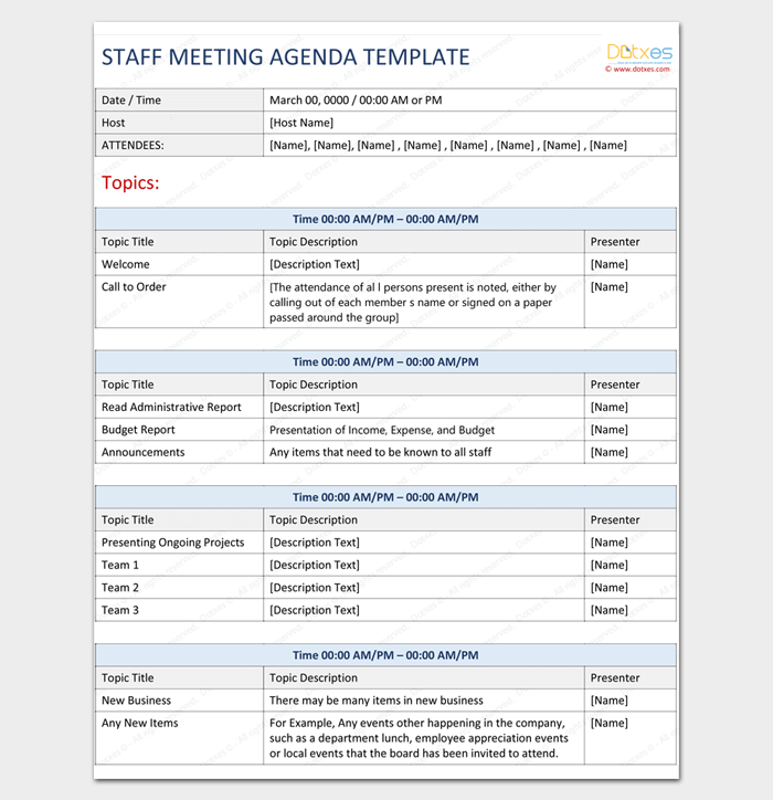 Staff Meeting Agenda Outline Template
