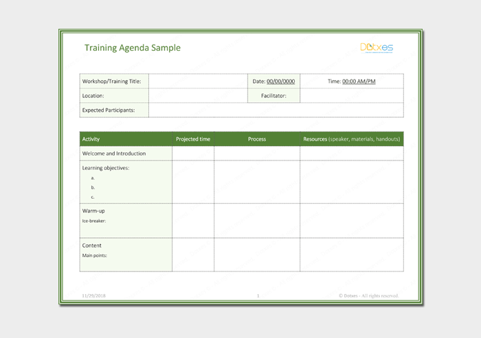 Training Agenda Outline Template