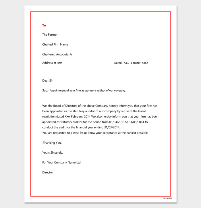 Company Auditor Appointment Letter in Word Format