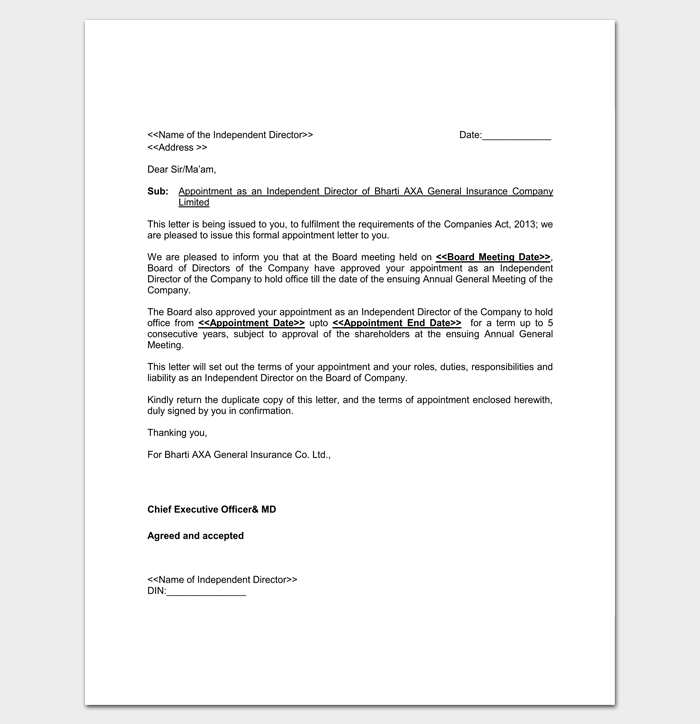 Sample Company Director Appointment Letter 1