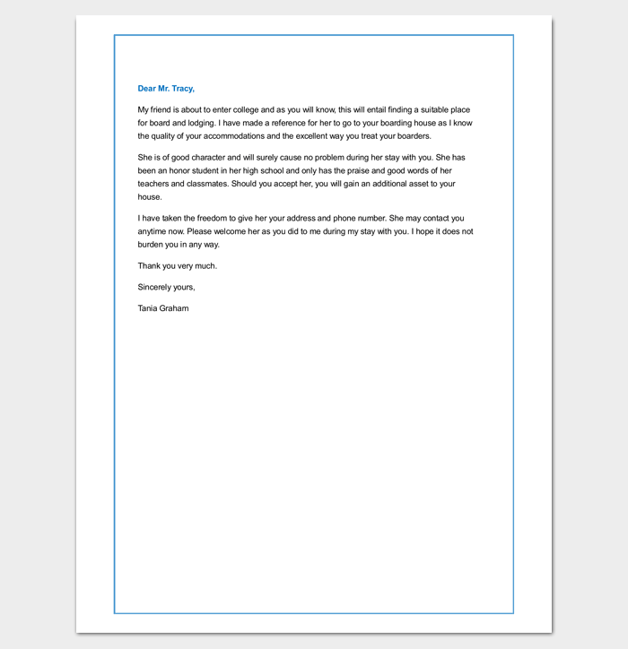 Sample Tenant Reference Letter