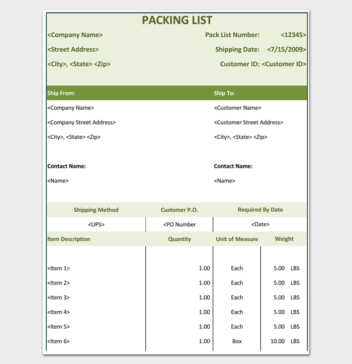 Shipping Packing List