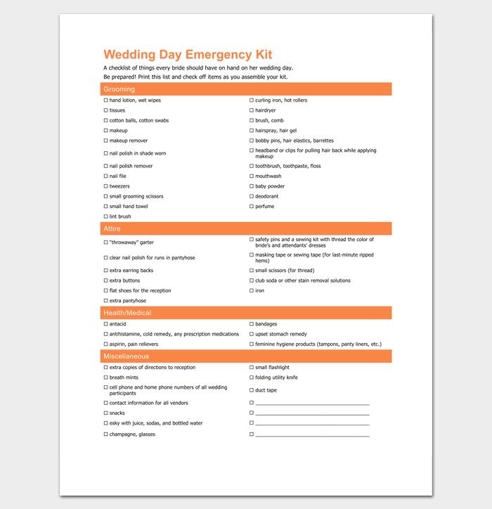 Wedding Day Emergency Checklist 1