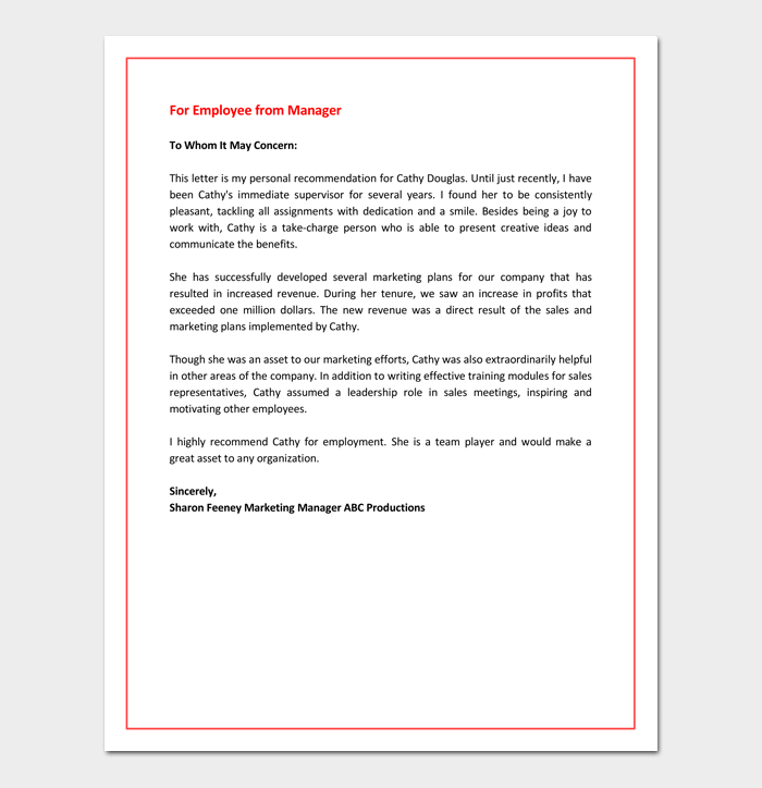 Letter of Recommendation for Employee from Manager