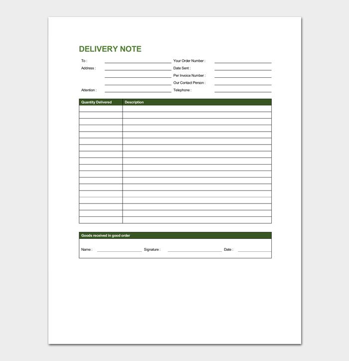 Delivery Order Note Sample