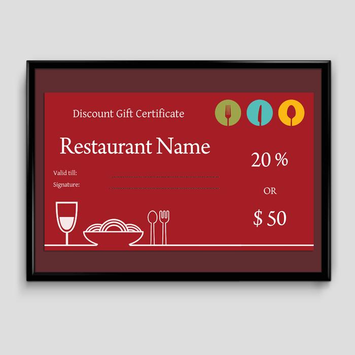 Restaurant Gift Certificate Template