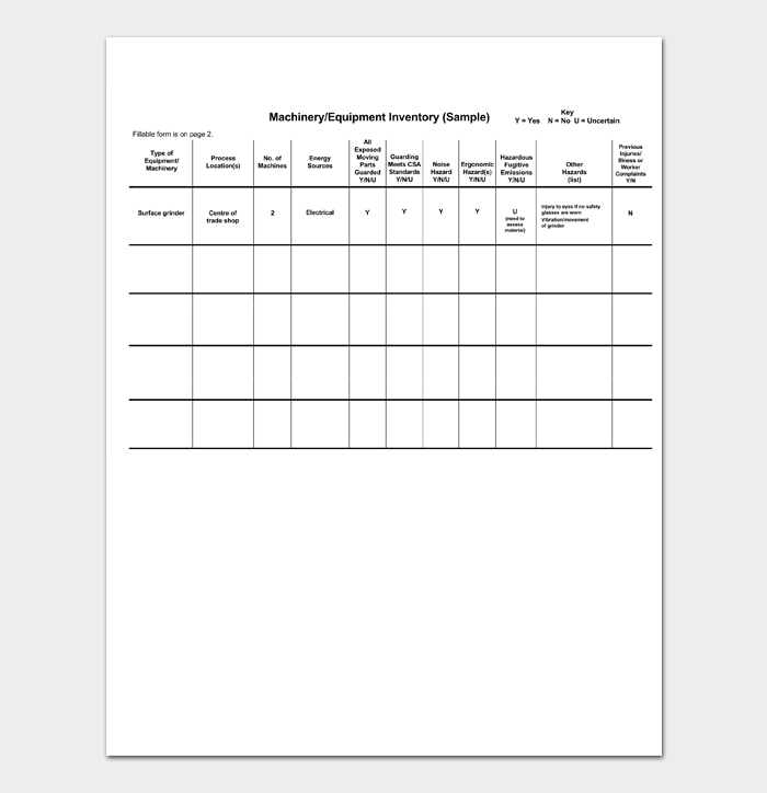 Equipment Inventory List 1