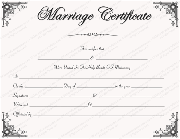 Printable Blank Marriage Certificates Catholic