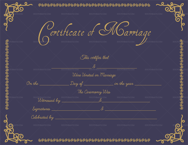 Editable Marriage Certificate (Purple, Gold)
