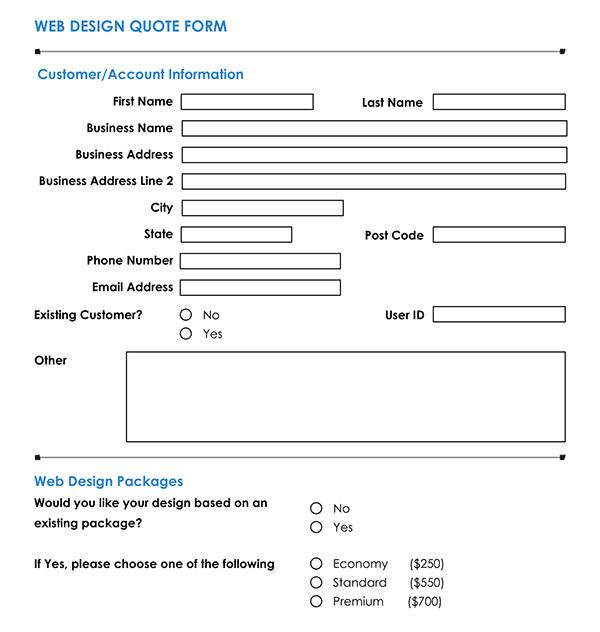 Media Web Design Quote Form