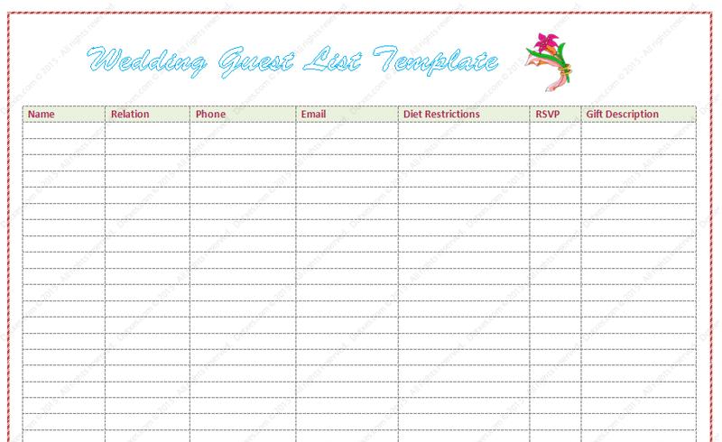 Wedding Guest List Template (Word)