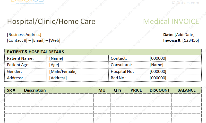 medical bills format in Microsoft Word (Featured Image)