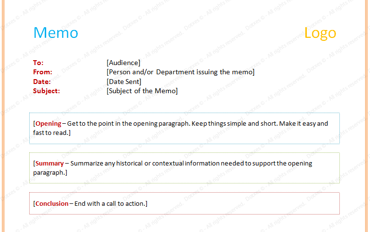 Example of Memorandum Letter Template