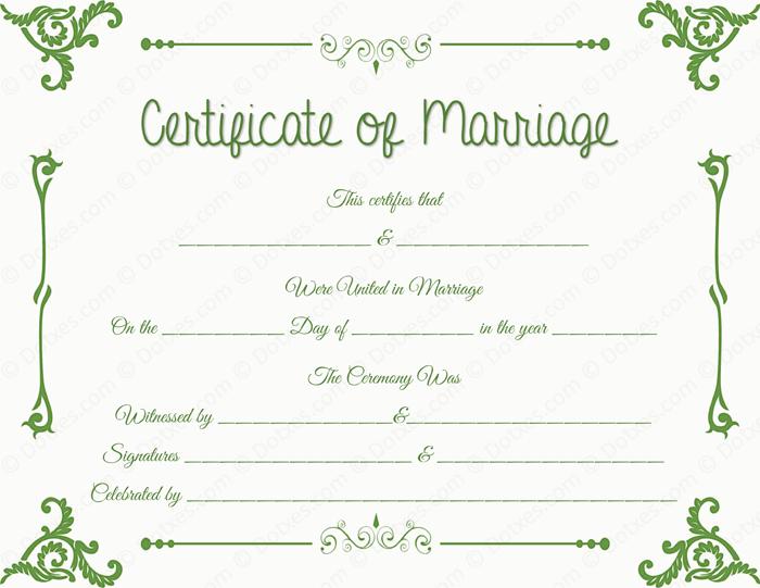 fake marriage license