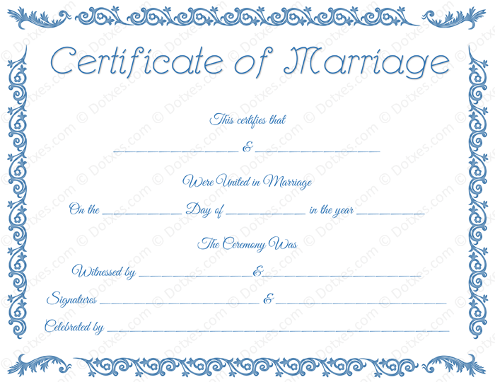 Printable Blank Marriage Certificate Template
