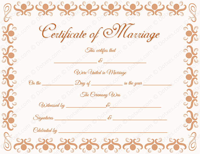 Round Grill Border Marriage Certificate Format for PDF