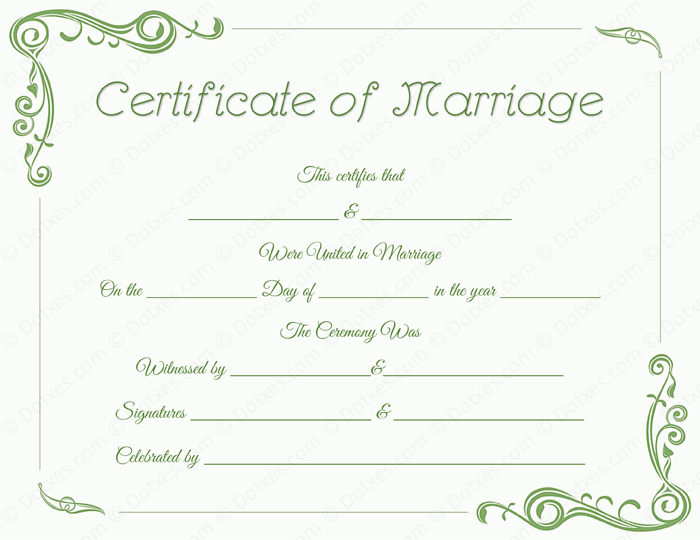 Standard Fake Marriage Certificate Template