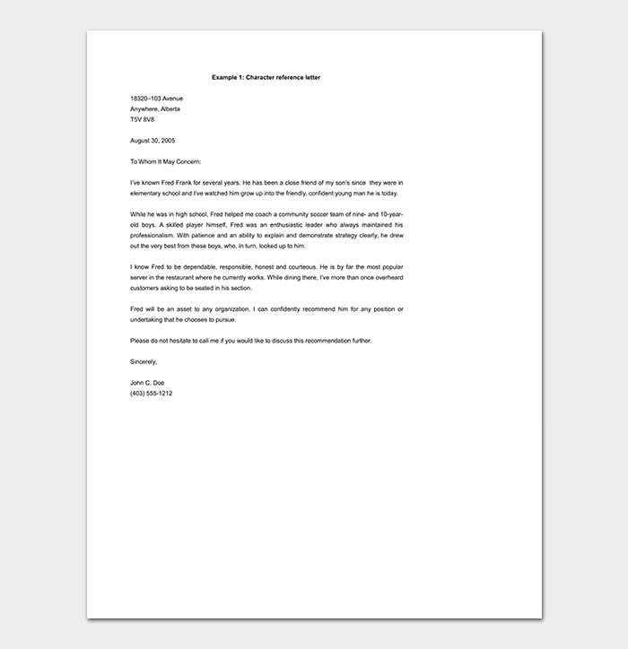 Character Reference Letter Template DOC