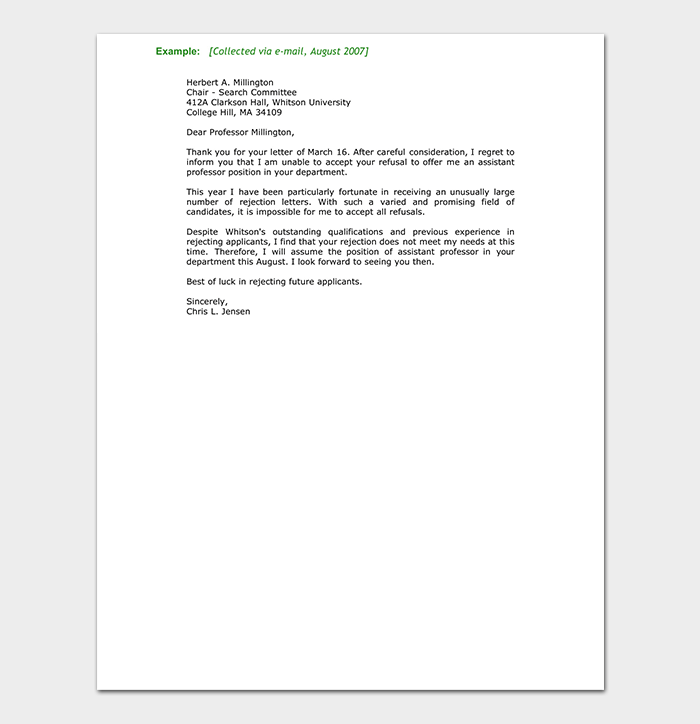 College Rejection Letter Template