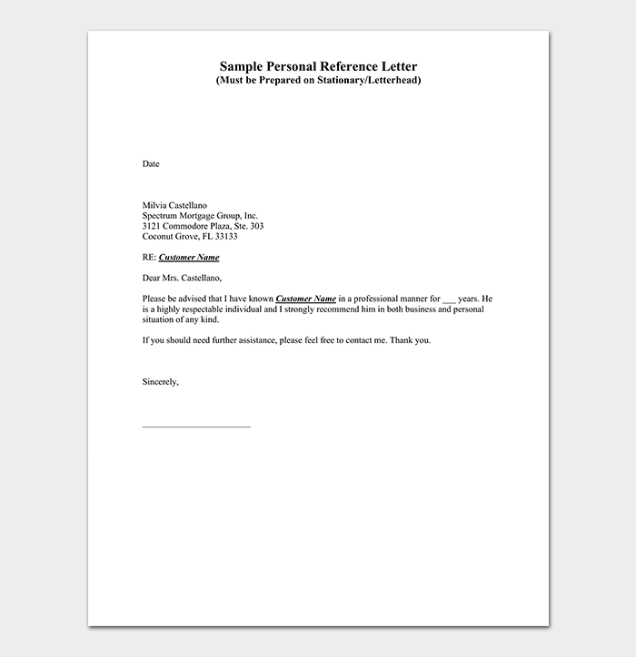 Professional Personal Reference Letter