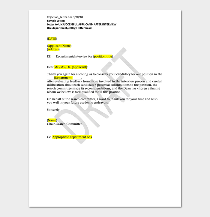 Rejection After Interview Letter