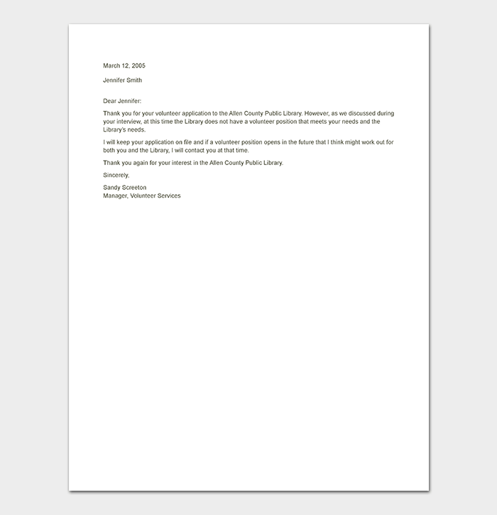 Sample Volunteer Rejection Letter