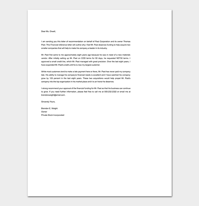 Simple Financial Reference Letter