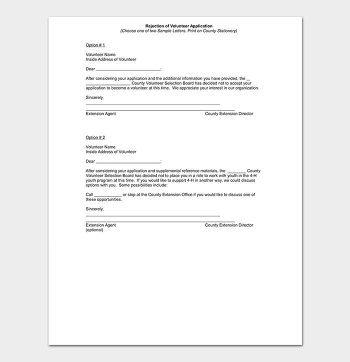 Volunteer Request Rejection Letter