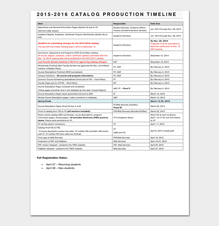 Catalog Production Schedule Timeline Template