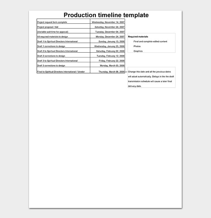 Production Timeline Template Excel