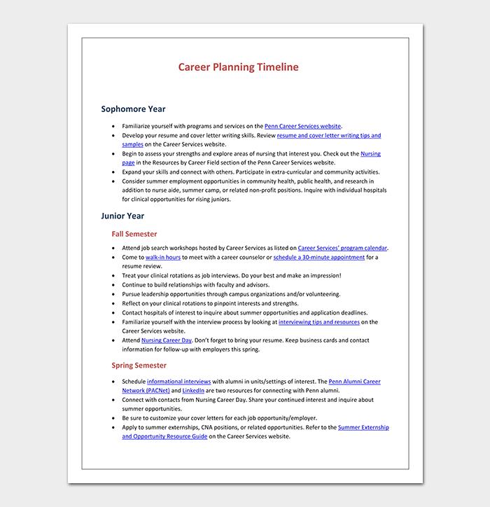 Career Planning Timeline Template