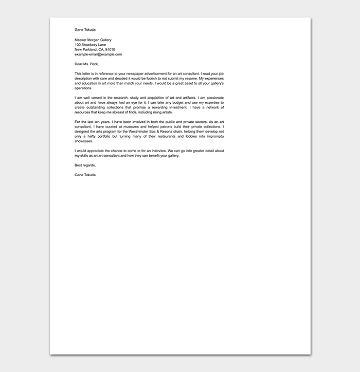General Consulting Cover Letter