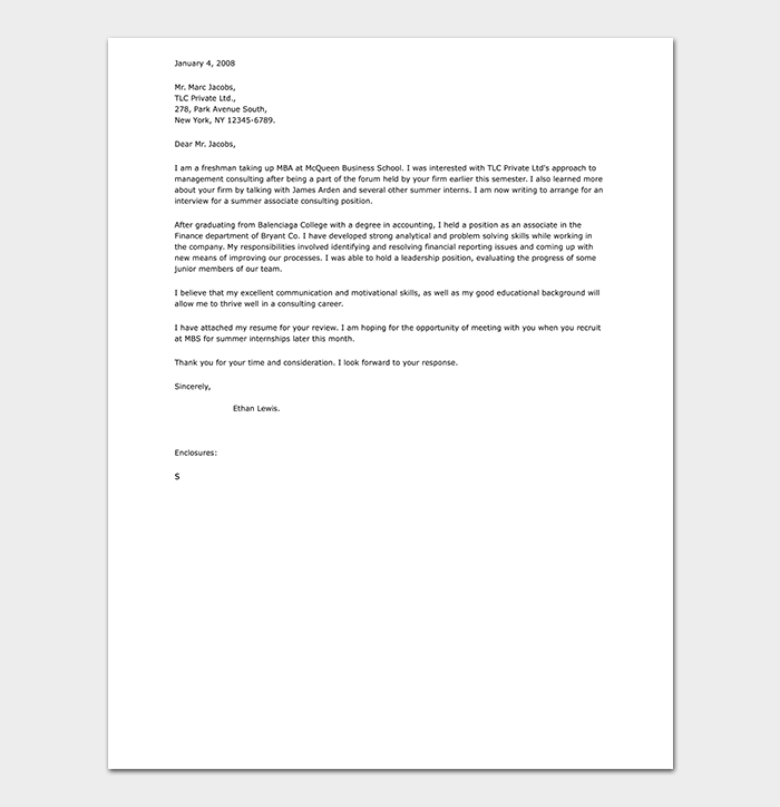 Professional Internship Cover Letter