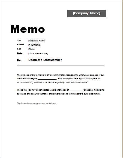 Memo About Death Of A Staff Member  Word & Excel Templates
