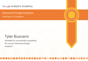 google analytics certification tyler buscemi