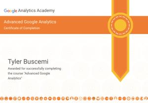 google analytics certification tyler buscemi