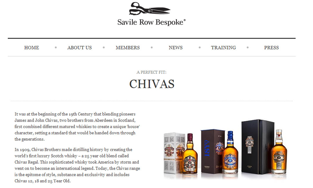 Savile Row and Chivas Whisky partnership Red Platypus