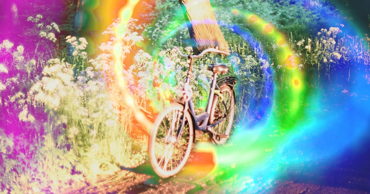 Doubleblind: a bicycle in front of a trippy background. In this article, Doubleblind explains the story behind Bicycle Day. Which includes Demons, Milk and Medicine for the soul.