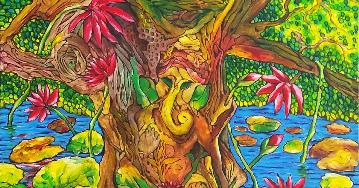 Doubleblind: A divine nature painting of a tree, pond, flowers and funghi. In this article, Doubleblind talks about Entheogen and what it means.