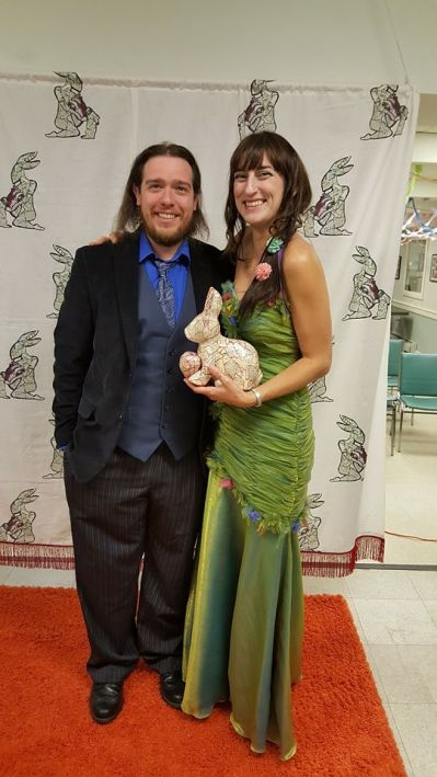 Jessica Guimond and Max Powers with the Best Valentine Trophy