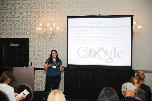 Nicole Bullock presents SEO strategies for bloggers at FitBloggin' 13. Photo by Carrie D Photography.