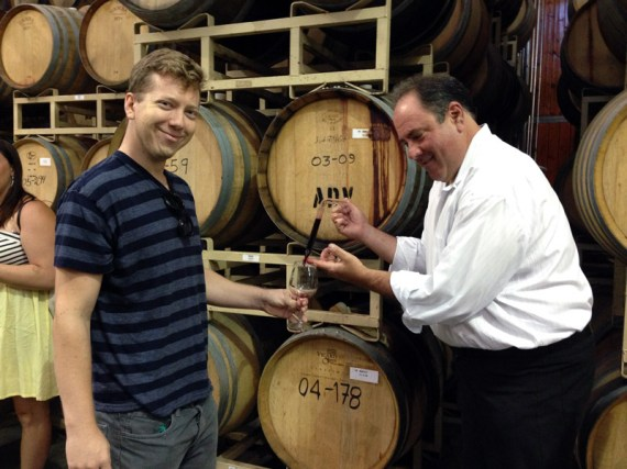 "Matt gets to taste wine right from the barrel with the ""thief"""