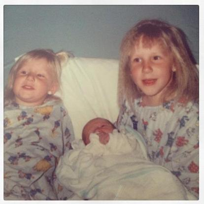 That's me on the left, with our brother in the middle, and April on the right. Look at me rockin my double chin!