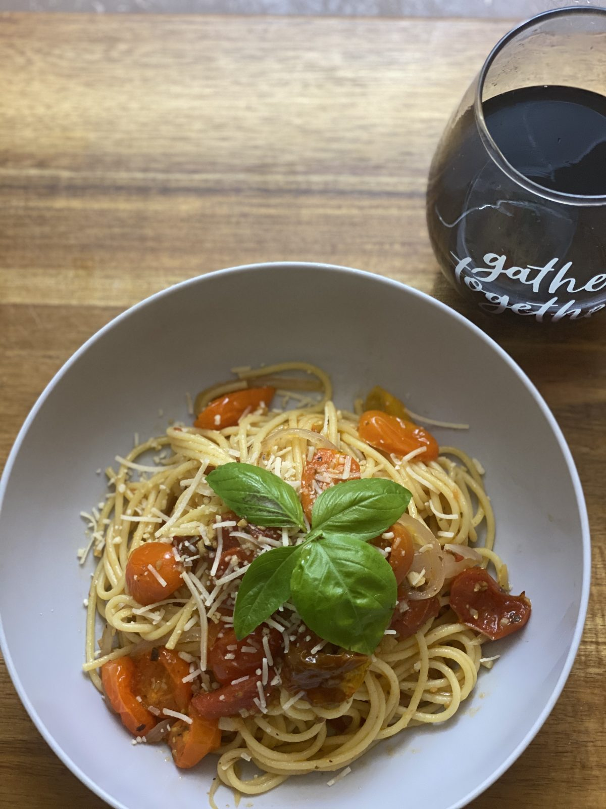 spaghetti pasta and red wine