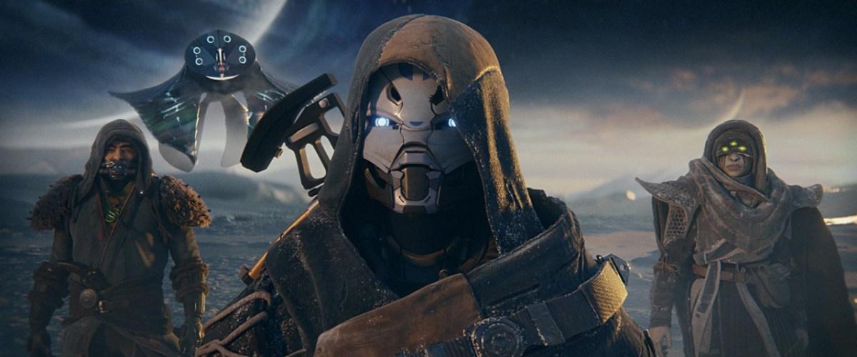 Destiny 2: Beyond Light key artwork of The Exo Stranger, The Drifter, and Eris Morn.