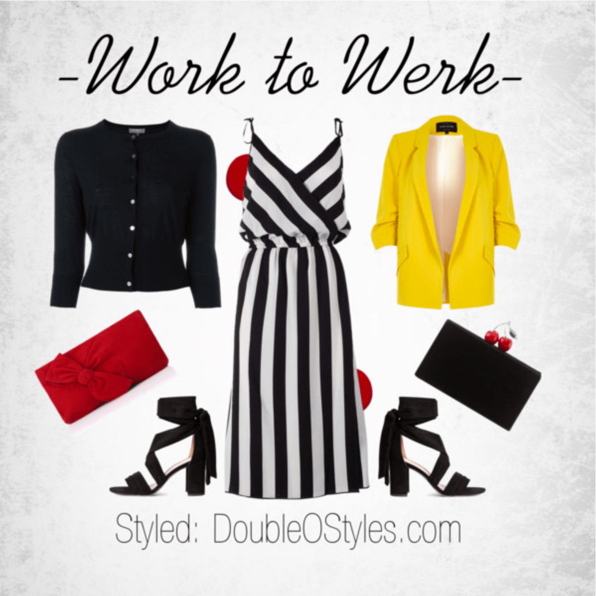 Tone it down in a black #cardigan with your pop of red and stripes ORRRR Brighten it up with the Yellow #Blazer with your pop of red and stripes! #workwear #womenstyle #polyvorefashion #fashionset
