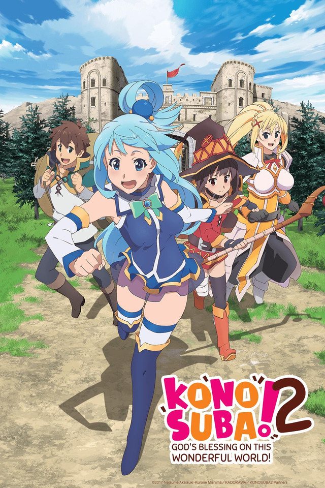 KonoSuba season 2 Cover Art featuring Kazuma, Aqua, Megumin, and Darkness