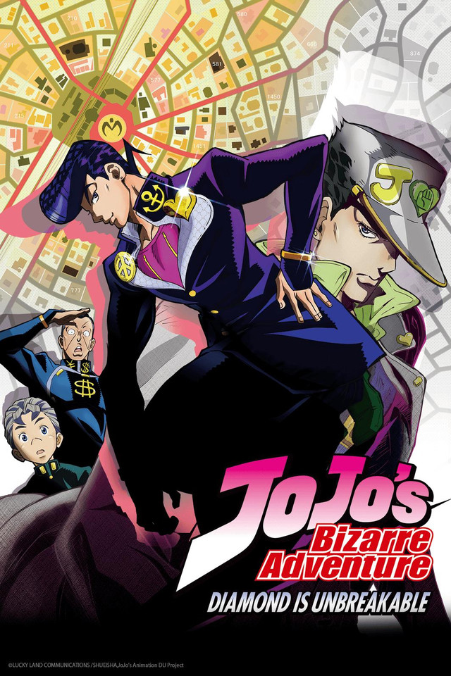 JoJo's Bizarre Adventure: Diamond is Unbreakable (part 4) Cover Art featuring Josuke, Jotaro, Koichi, and Okuyasu