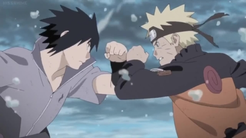 Naruto Uzumaki vs. Sasuke Uchiha from the anime Naruto: Shippuden