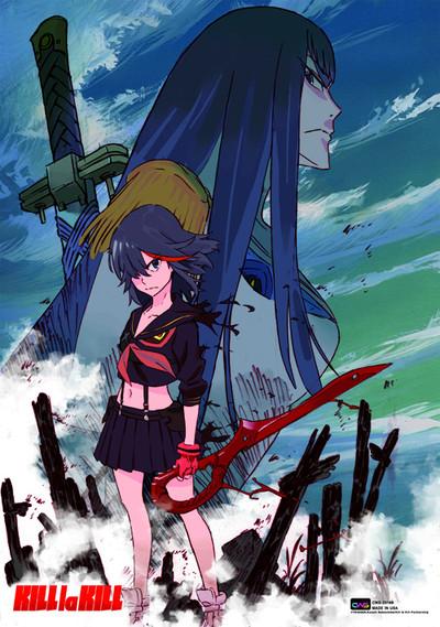 Kill la Kill Cover Art featuring Ryuko Matoi and Satsuki Kiryuin